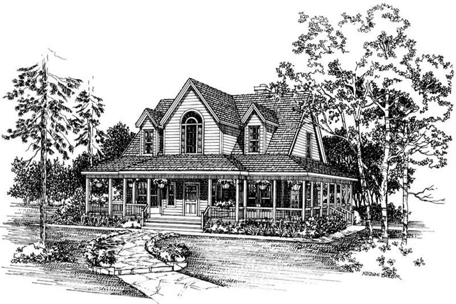 Home Plan Front Elevation of this 3-Bedroom,1771 Sq Ft Plan -137-1386