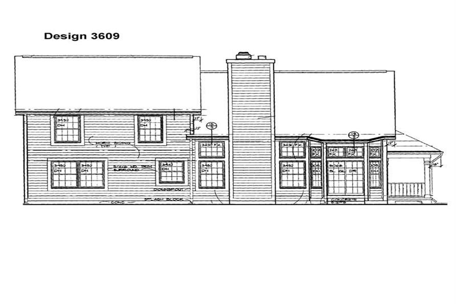 Home Plan Rear Elevation of this 3-Bedroom,2220 Sq Ft Plan -137-1388
