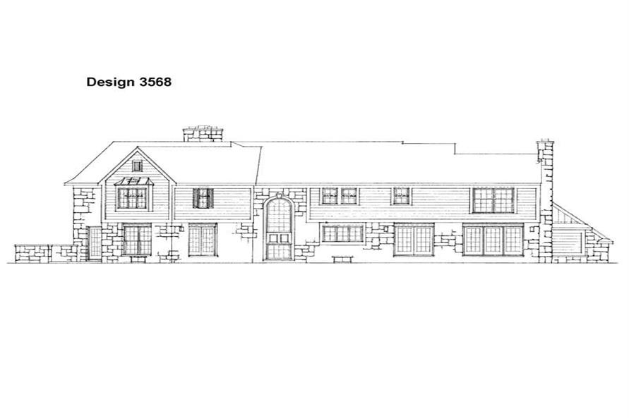 Home Plan Rear Elevation of this 4-Bedroom,3645 Sq Ft Plan -137-1394
