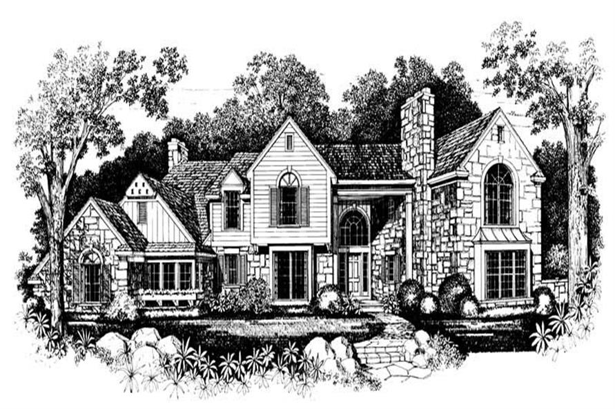 Home Plan Front Elevation of this 4-Bedroom,3645 Sq Ft Plan -137-1394