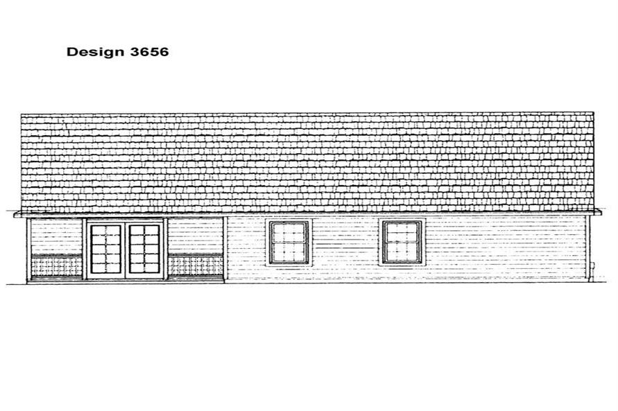Home Plan Rear Elevation of this 3-Bedroom,1414 Sq Ft Plan -137-1406