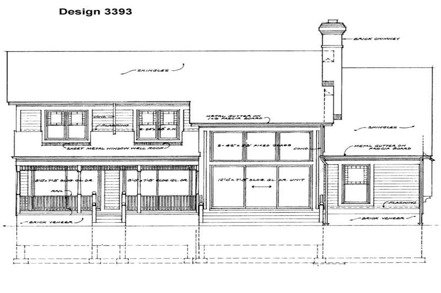 Home Plan Rear Elevation of this 4-Bedroom,2351 Sq Ft Plan -137-1411