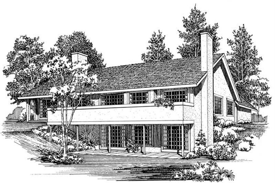 Home Plan Rear Elevation of this 4-Bedroom,2341 Sq Ft Plan -137-1414