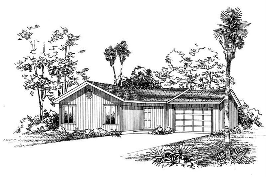 3-Bedroom, 1200 Sq Ft Ranch House Plan - 137-1415 - Front Exterior