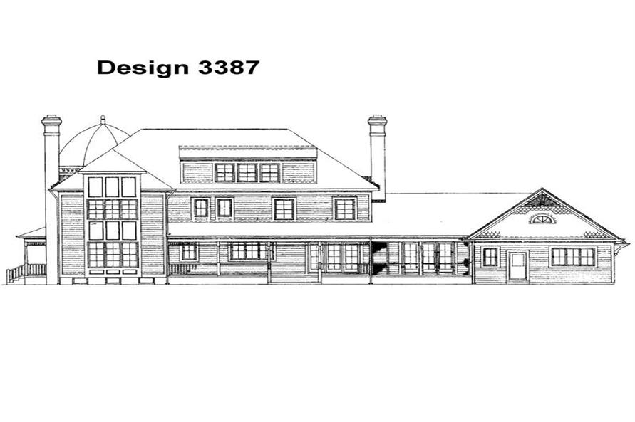 Home Plan Rear Elevation of this 4-Bedroom,4812 Sq Ft Plan -137-1416