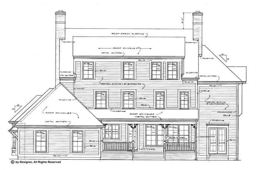 Home Plan Rear Elevation of this 5-Bedroom,3879 Sq Ft Plan -137-1418