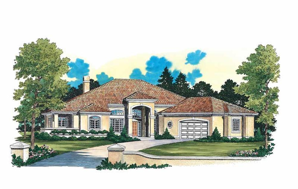 Front elevation of Contemporary home (ThePlanCollection: House Plan #137-1419)