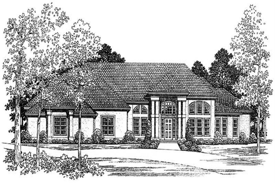 Home Plan Front Elevation of this 4-Bedroom,2861 Sq Ft Plan -137-1420