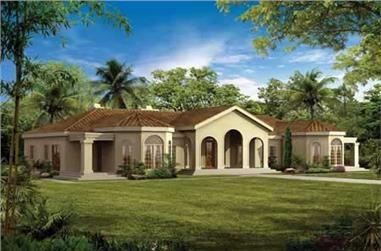 4-Bedroom, 2831 Sq Ft Mediterranean House Plan - 137-1423 - Front Exterior