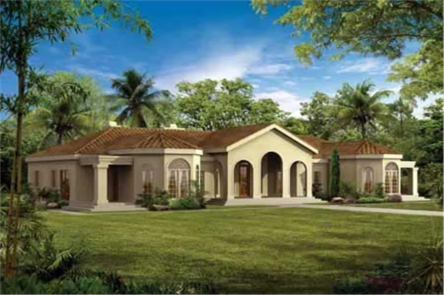 4-Bedroom, 2831 Sq Ft Mediterranean House Plan - 137-1423 - Front Exterior