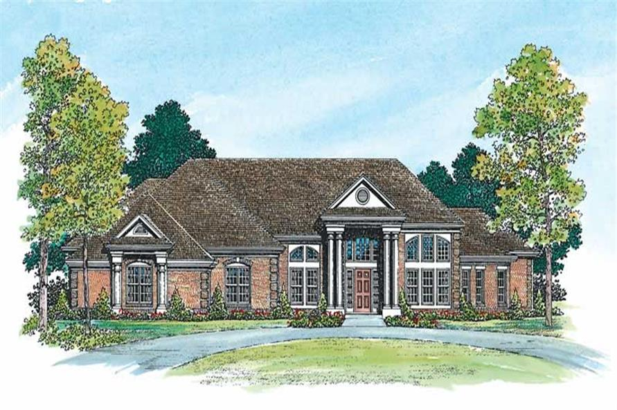 Home Plan Front Elevation of this 4-Bedroom,2946 Sq Ft Plan -137-1427