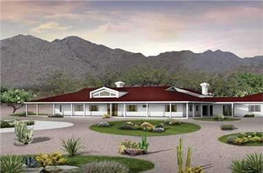 5-Bedroom, 5024 Sq Ft Ranch House Plan - 137-1428 - Front Exterior