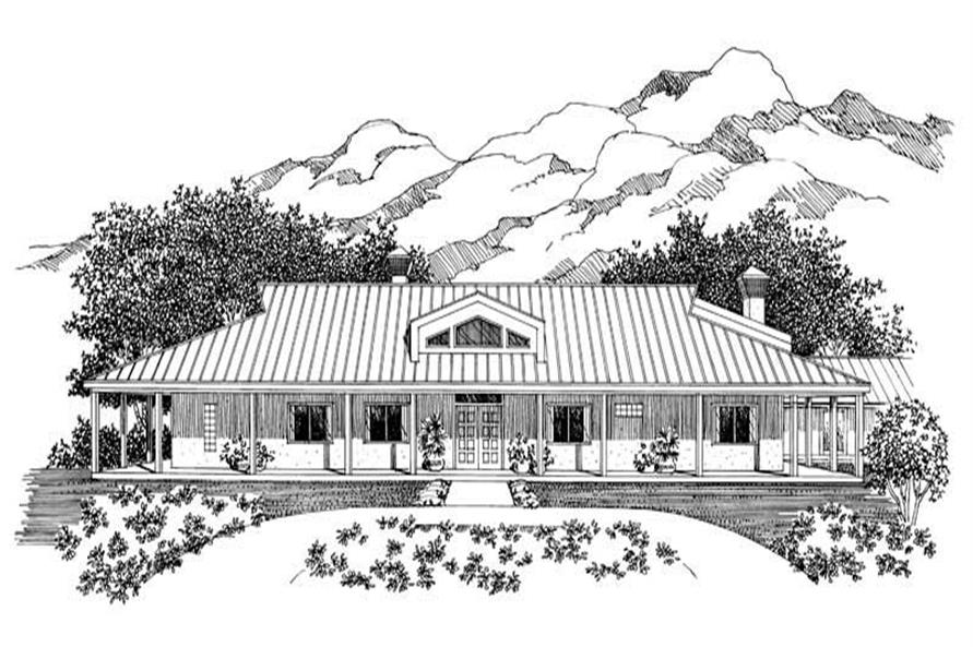 Home Plan Front Elevation of this 5-Bedroom,5024 Sq Ft Plan -137-1428