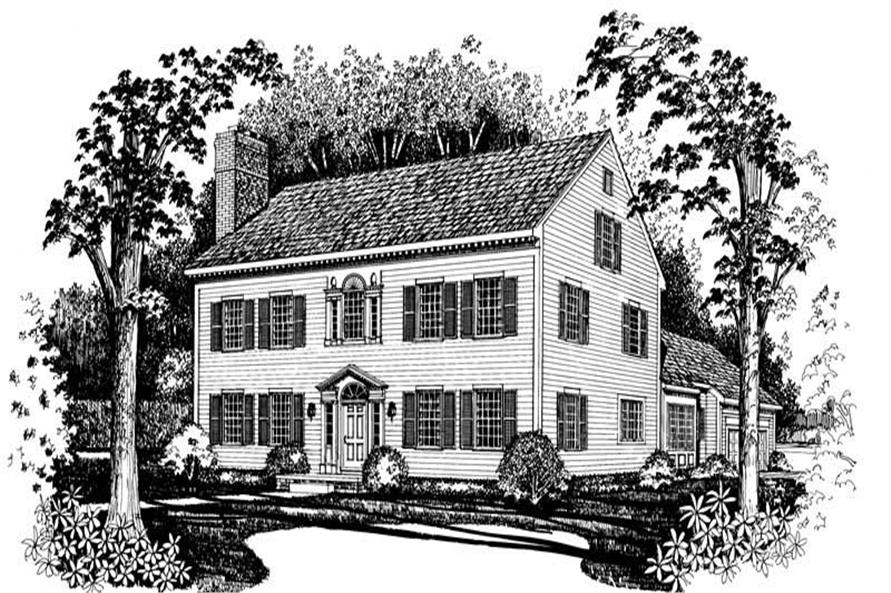 3-Bedroom, 3782 Sq Ft Colonial Home Plan - 137-1430 - Main Exterior