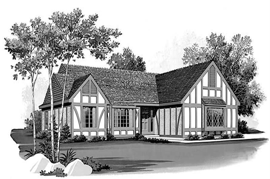 2-Bedroom, 1608 Sq Ft European House Plan - 137-1437 - Front Exterior
