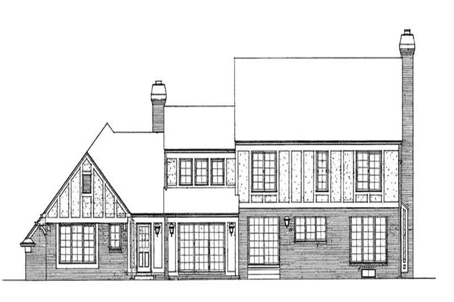 Home Plan Rear Elevation of this 4-Bedroom,2617 Sq Ft Plan -137-1442