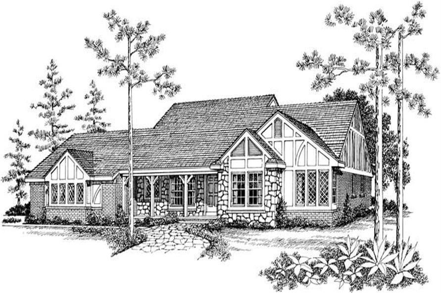 3-Bedroom, 1944 Sq Ft European House Plan - 137-1443 - Front Exterior