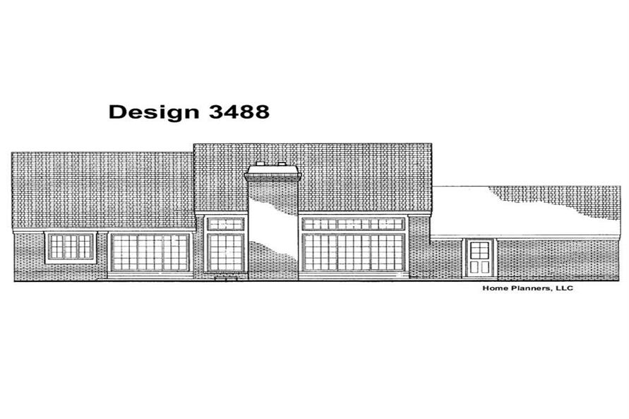 Home Plan Rear Elevation of this 3-Bedroom,1944 Sq Ft Plan -137-1443