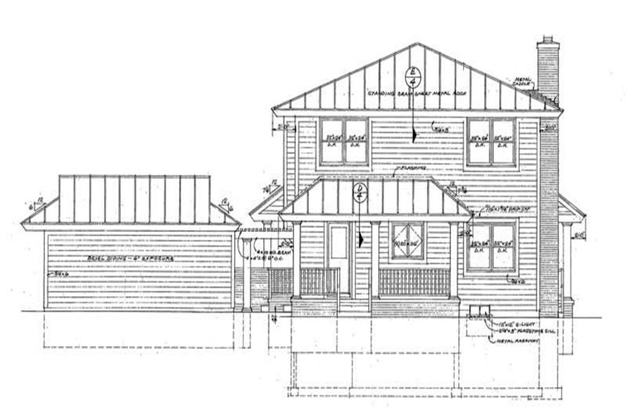 Home Plan Rear Elevation of this 3-Bedroom,2072 Sq Ft Plan -137-1448