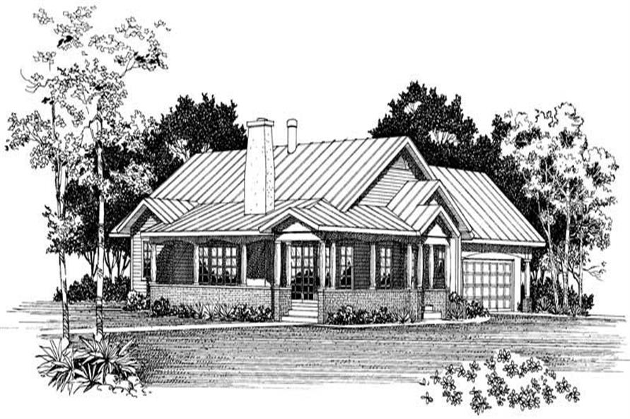 Home Plan Rear Elevation of this 3-Bedroom,1410 Sq Ft Plan -137-1450