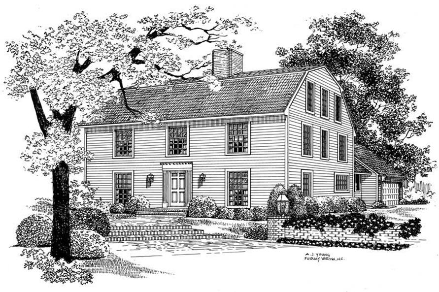 4-Bedroom, 3465 Sq Ft Colonial Home Plan - 137-1452 - Main Exterior