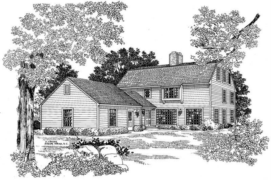 Home Plan Rear Elevation of this 4-Bedroom,3465 Sq Ft Plan -137-1452