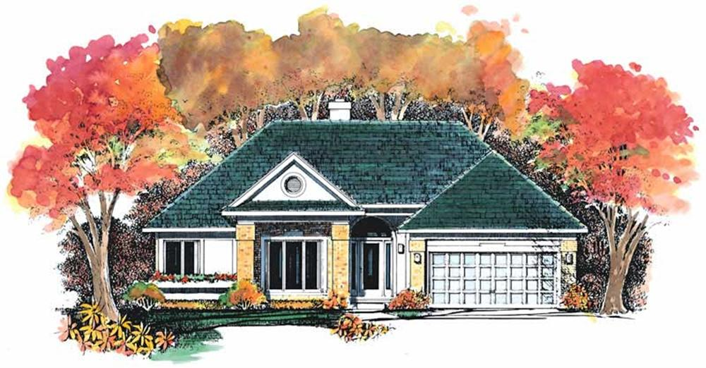 Front elevation of Ranch home (ThePlanCollection: House Plan #137-1464)