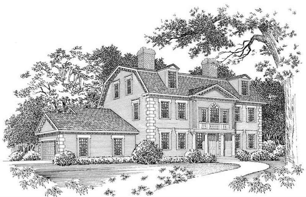 Colonial home (ThePlanCollection: Plan #137-1465)