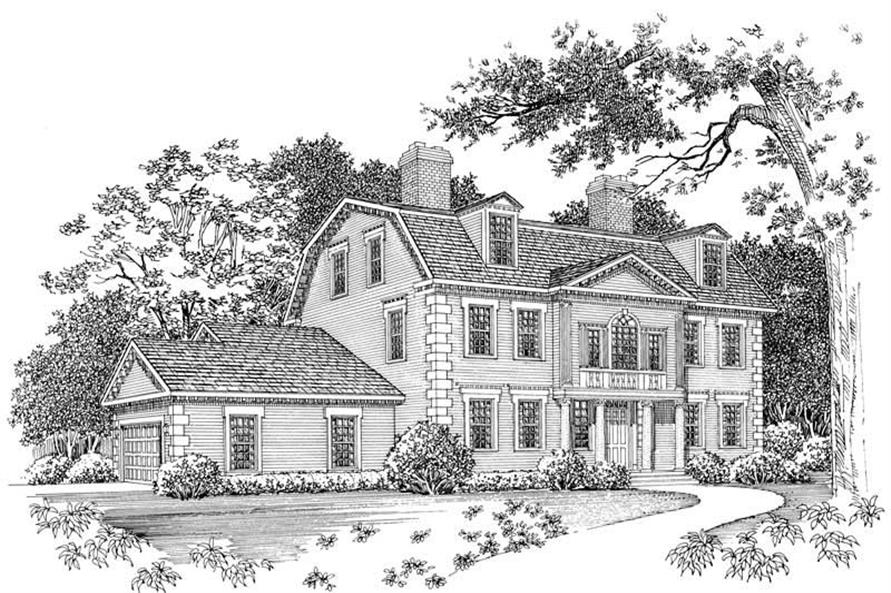 4-Bedroom, 3583 Sq Ft Colonial Home Plan - 137-1465 - Main Exterior