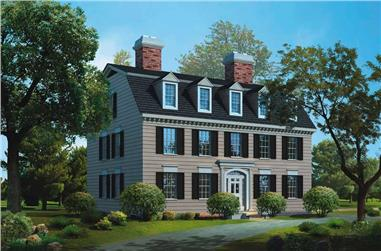 4-Bedroom, 3965 Sq Ft Colonial House Plan - 137-1466 - Front Exterior