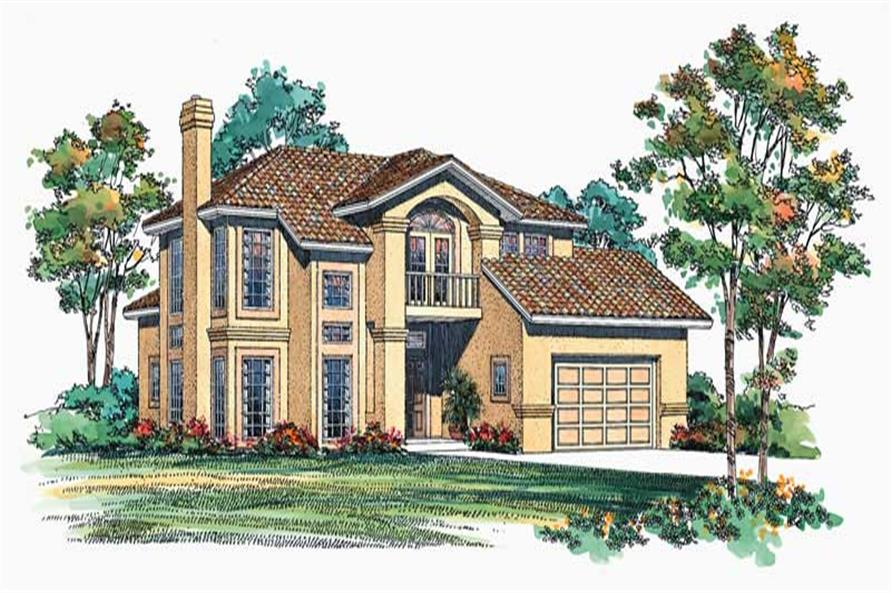 4-Bedroom, 2761 Sq Ft Mediterranean House Plan - 137-1470 - Front Exterior