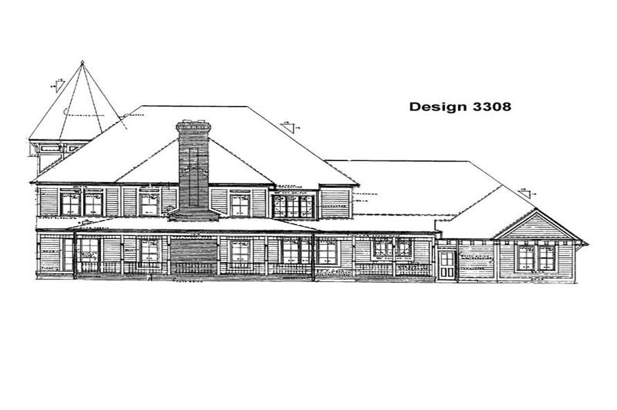 Home Plan Rear Elevation of this 4-Bedroom,5224 Sq Ft Plan -137-1476