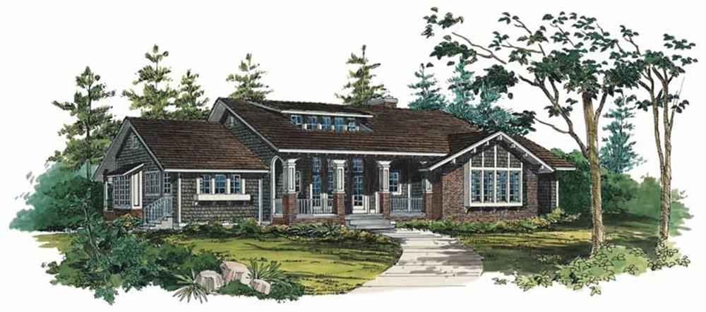 Front elevation of Shingle home (ThePlanCollection: House Plan #137-1477)