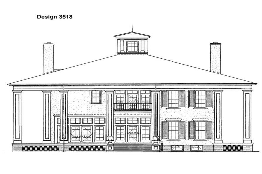 Home Plan Rear Elevation of this 4-Bedroom,3754 Sq Ft Plan -137-1480