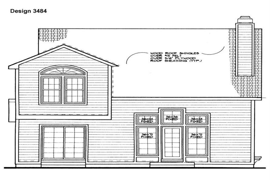 Home Plan Rear Elevation of this 3-Bedroom,2087 Sq Ft Plan -137-1483