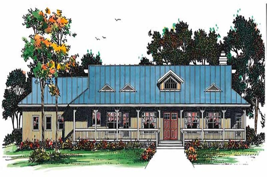 2-Bedroom, 1800 Sq Ft Country House Plan - 137-1484 - Front Exterior