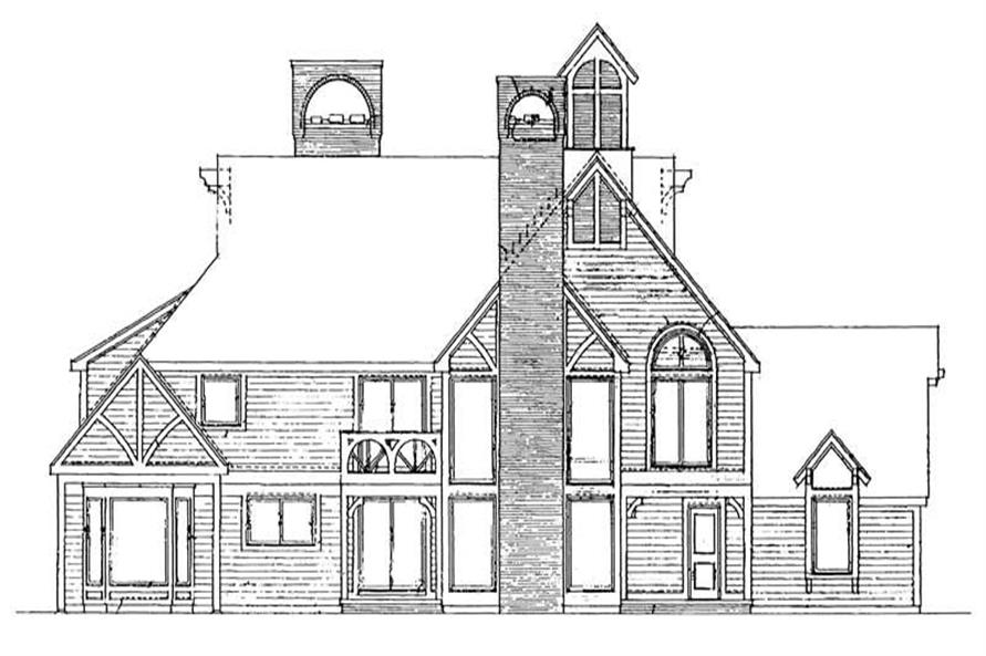 Home Plan Rear Elevation of this 5-Bedroom,4006 Sq Ft Plan -137-1488