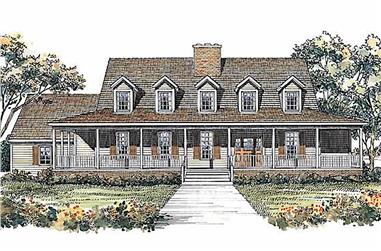 4-Bedroom, 3096 Sq Ft Country Home Plan - 137-1490 - Main Exterior