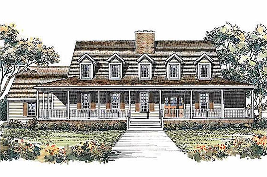 Country Farmhouse home (ThePlanCollection: House Plan #137-1490)