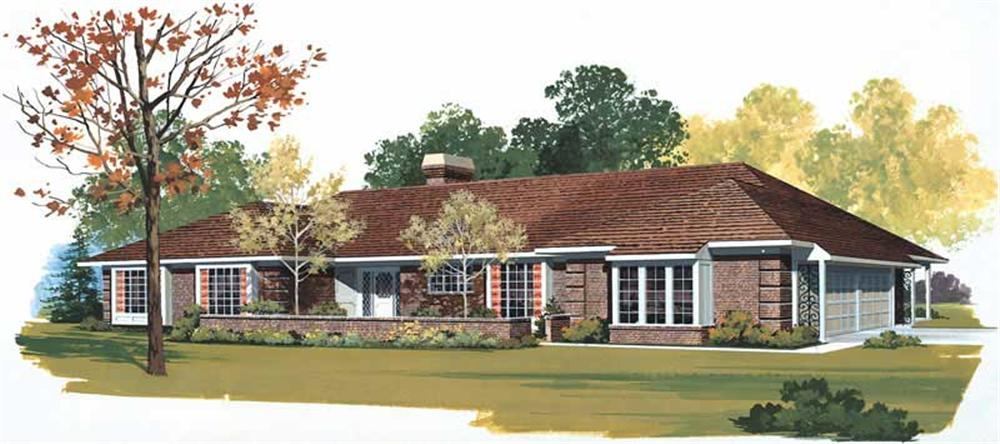 Front elevation of Ranch home (ThePlanCollection: House Plan #137-1491)