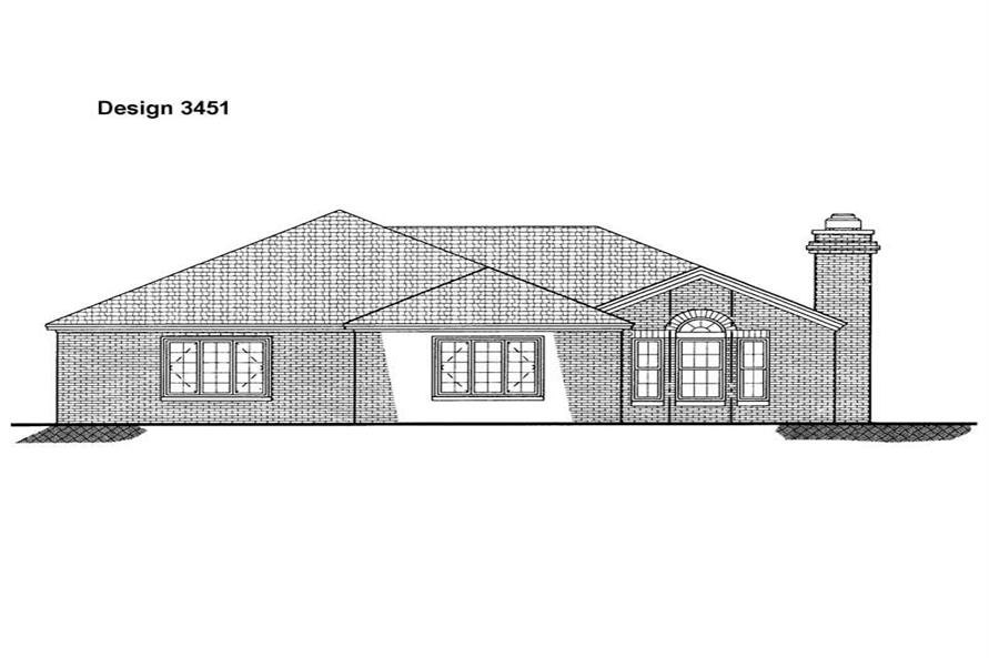 Home Plan Rear Elevation of this 2-Bedroom,1560 Sq Ft Plan -137-1496