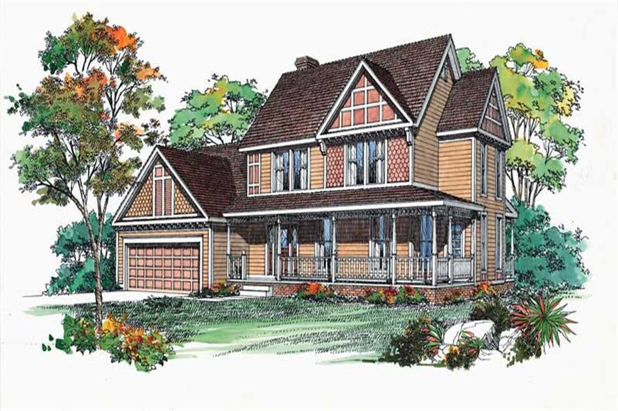FRONT COLOR RENDERING of this 4-Bedroom,1996 Sq Ft Plan -1996