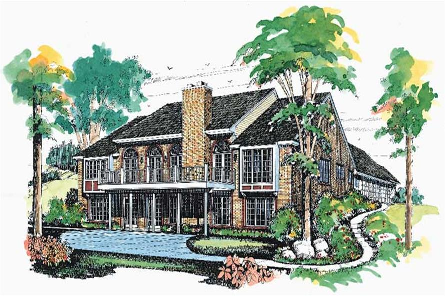 Home Plan Rear Elevation of this 3-Bedroom,2673 Sq Ft Plan -137-1504