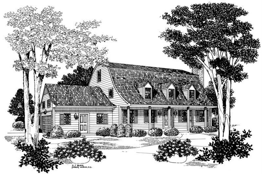 3-Bedroom, 2533 Sq Ft Colonial House Plan - 137-1508 - Front Exterior