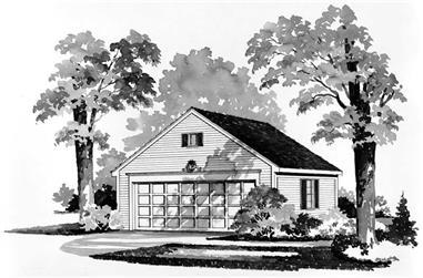 1-Bedroom, 528 Sq Ft Garage House Plan - 137-1512 - Front Exterior