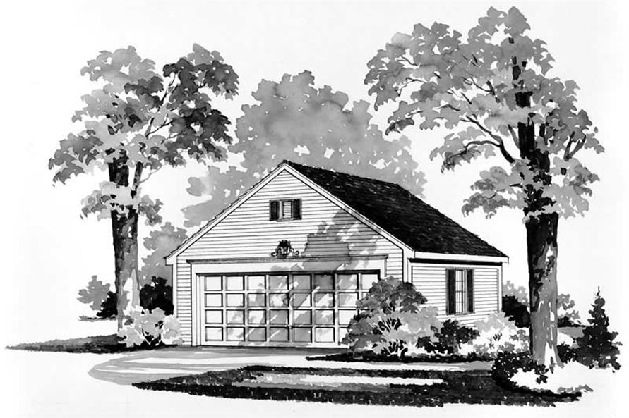 1-Bedroom, 528 Sq Ft Garage House Plan - 137-1512 - Front Exterior