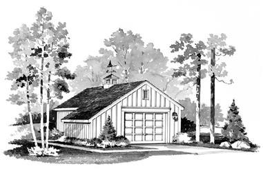 1-Bedroom, 384 Sq Ft Garage Home Plan - 137-1513 - Main Exterior