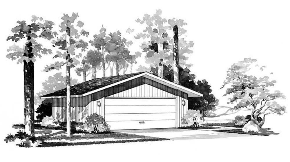 Black and white rendering of Garage plan (ThePlanCollection: House Plan #137-1515)