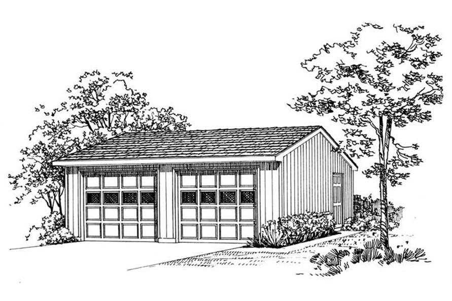 Rendering of Garage plan (ThePlanCollection: House Plan #137-1516)