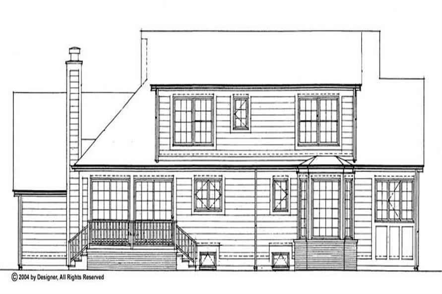 Home Plan Rear Elevation of this 4-Bedroom,2002 Sq Ft Plan -137-1521